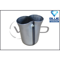 """2 x 2 1/4"""" INLET 3"""" OUTLET BLUE DIAMOND 2 INTO 1 COLLECTOR CONE"""