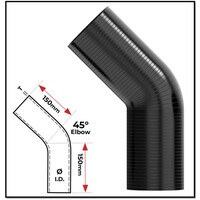 """3"""" (76MM) BLACK 45° SILICONE BEND (4 PLY REINFORCED 4MM THICK)"""