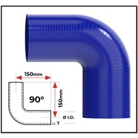 "1 3/8"" (35MM) BLUE 90° SILICONE BEND (4 PLY REINFORCED 4MM THICK)"